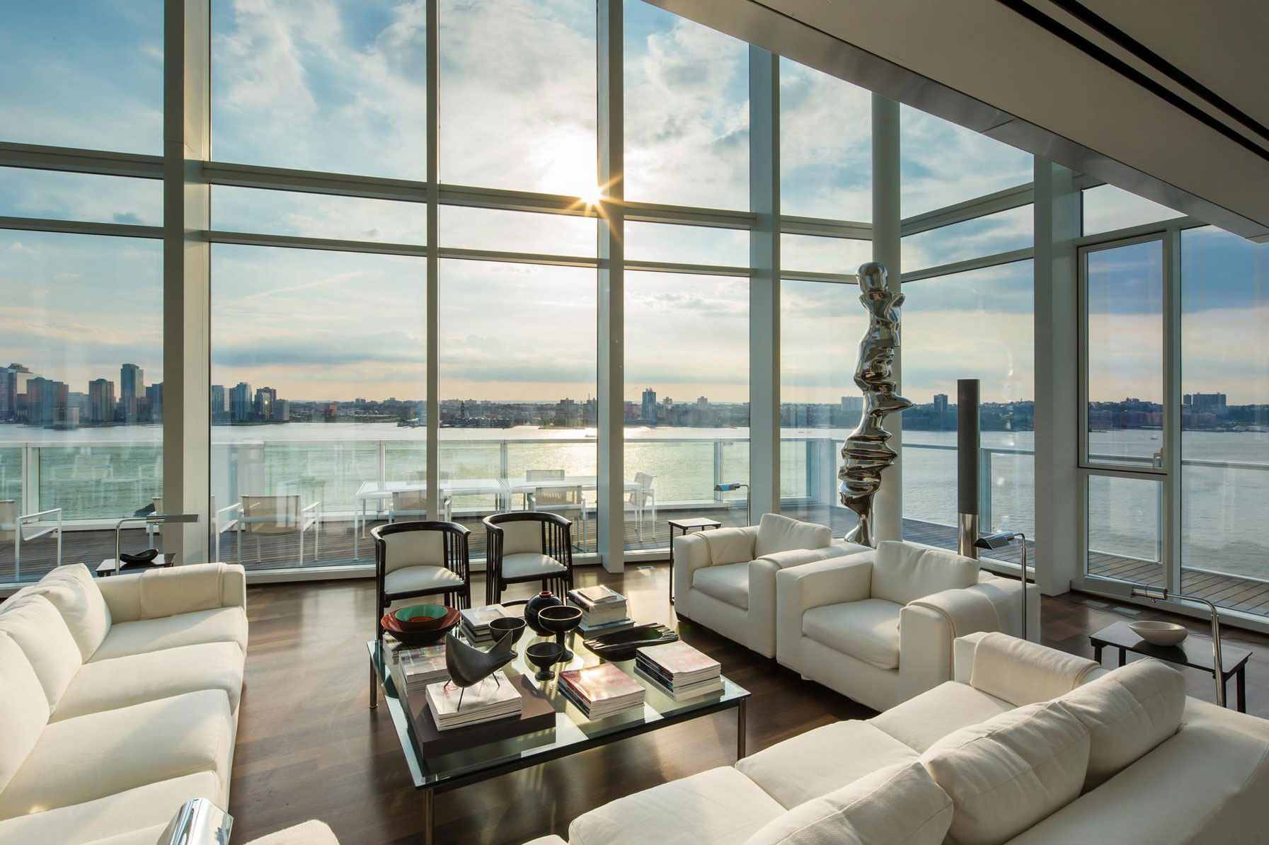 Sofas-Glass-Coffee-Table-Floor-to-Ceiling-Windows-Hudson-River-Apartment-Manhattan